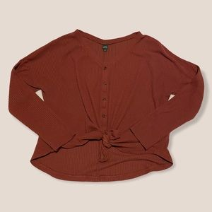 wild fable waffle knit tie front button up top